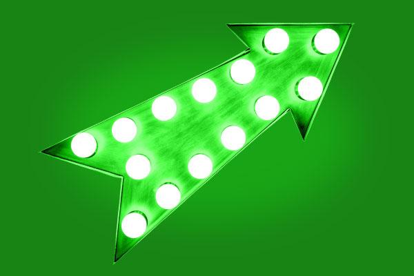 Grön pil pekar uppåt