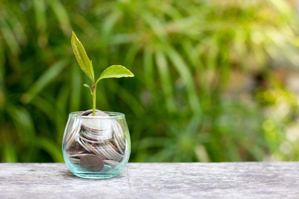 Energibesparing pengar i glas med grön kvist