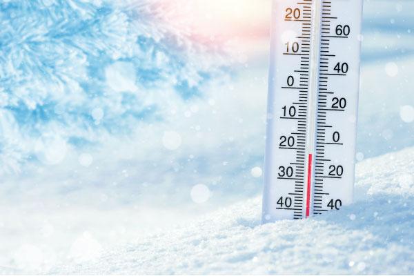 Termometer i snö uppvärmning