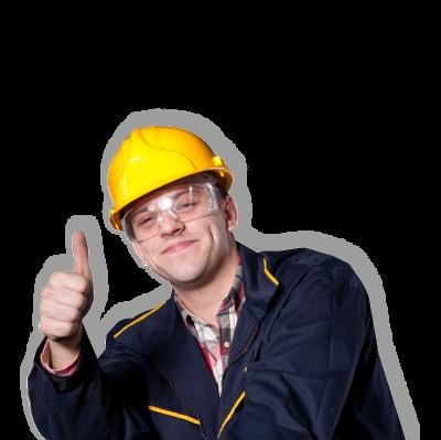 Serviceman i gul hjälm